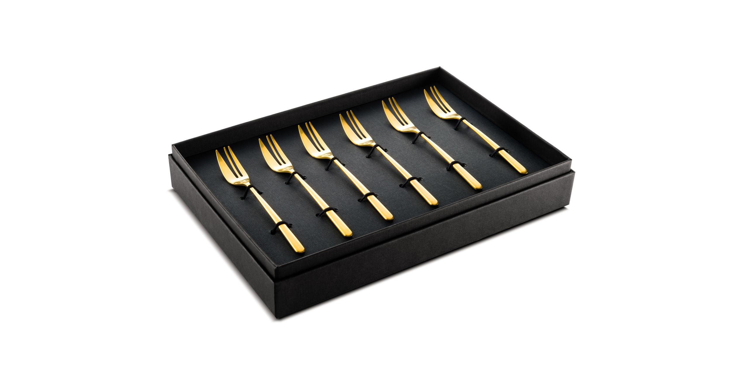 6 Cake Forks Linea Ice oro (matt gold)