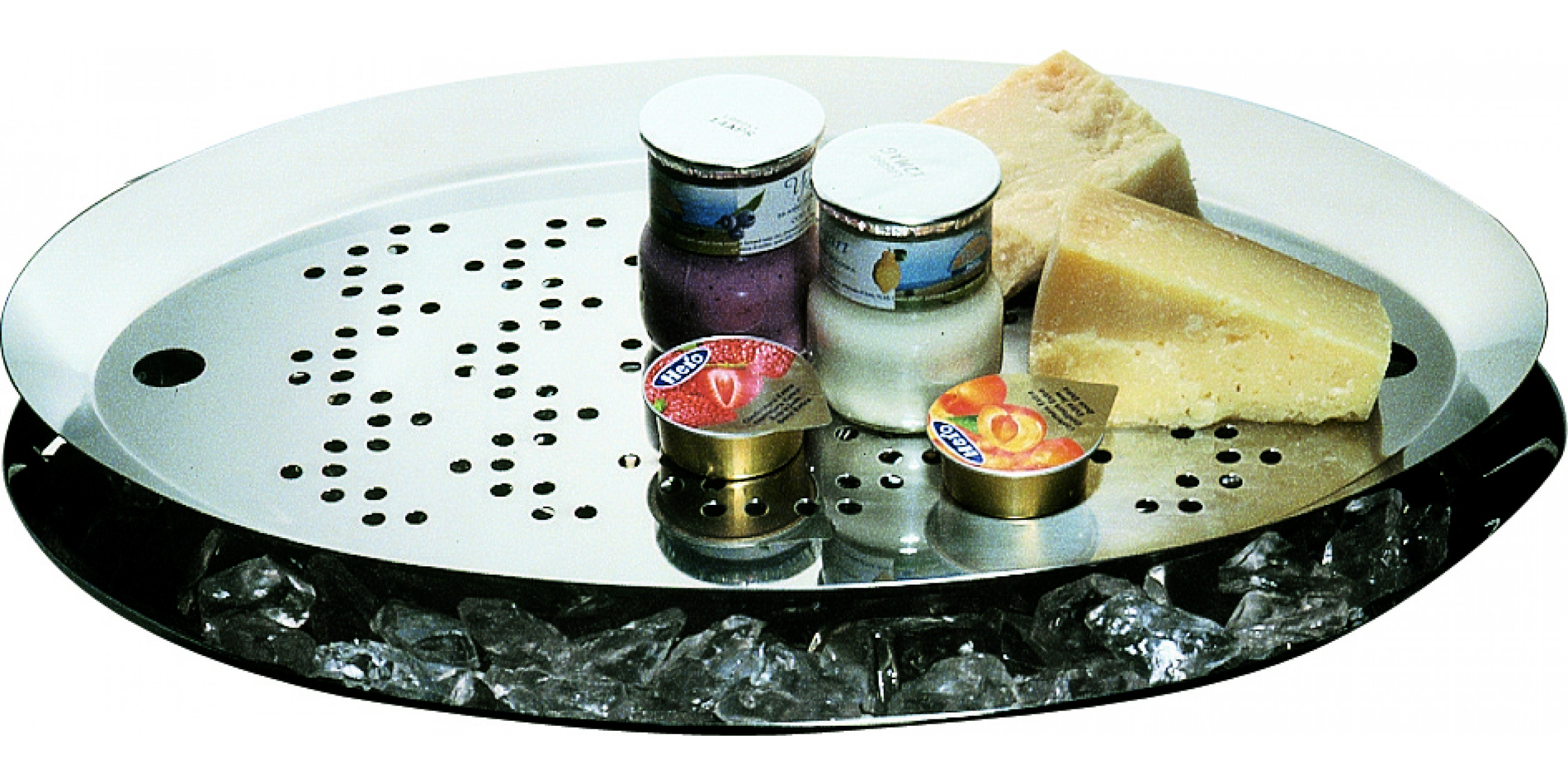 Oval cooling bowl for buffet with grill